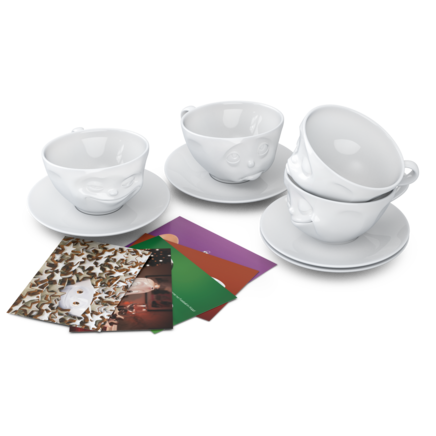 Cups, 4-piece set, white