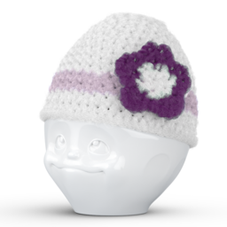 Egg cup hat with flower white lilac