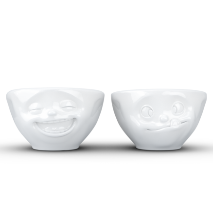 "Small bowls set no. 3 ""Laughing & Tasty"" in white, 100 ml"