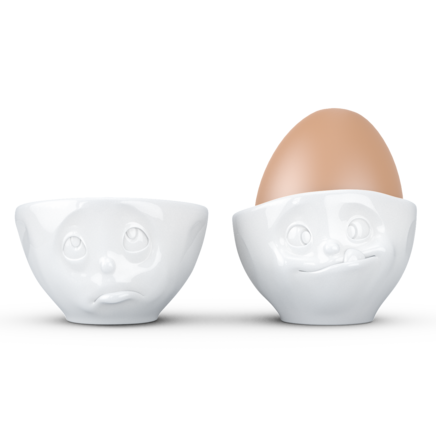 "Egg cup No. 2 ""Oh please & Tasty"" in white"