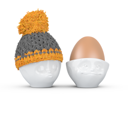 Egg cup hat grey/orange
