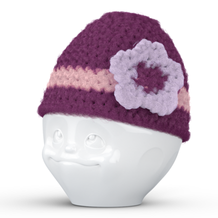 Egg cup hat with flower lilac pink