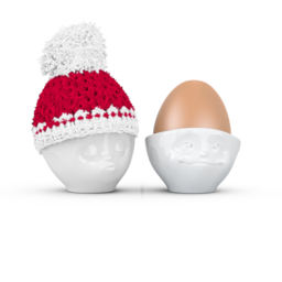 Egg cup hat winter - white/red