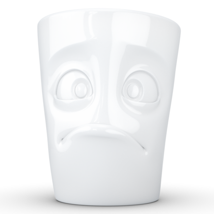 "MUG with handle ""Baffled"" white, 350 ml"