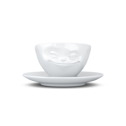 Espresso cup, grinning, white