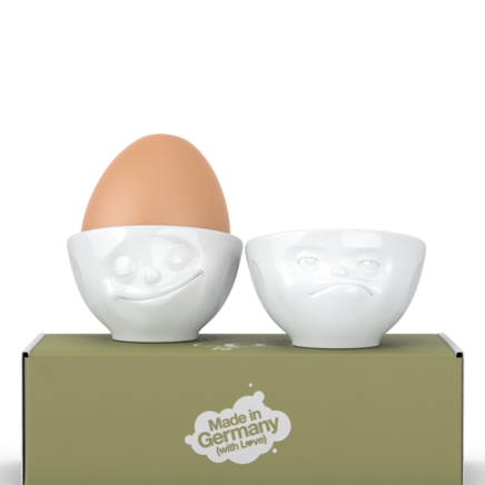 "Egg cup set no. 3 ""Happy & Hmpff"" in white"