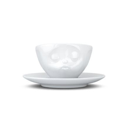 Espresso cup, kissing, white