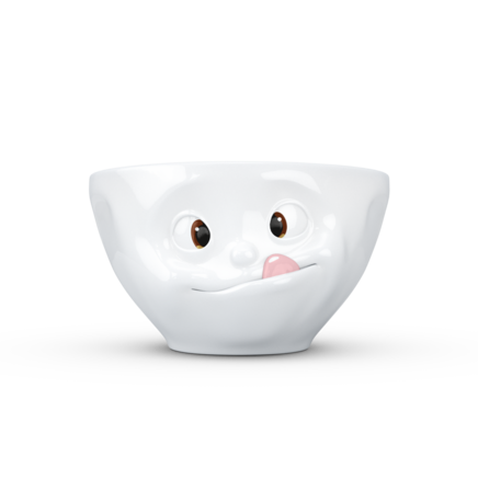 "Medium bowl ""Tasty"" with colorful eyes and pink tongue, 200 ml"