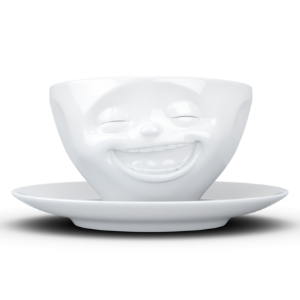 "Coffee Cup ""Laughing"" white, 200 ml"