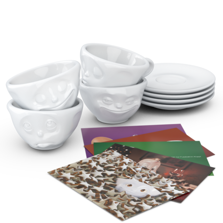 4-piece espresso set, white