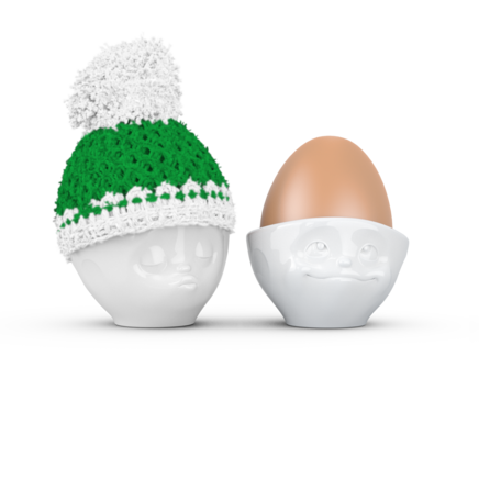 Egg cup hat winter - white/green