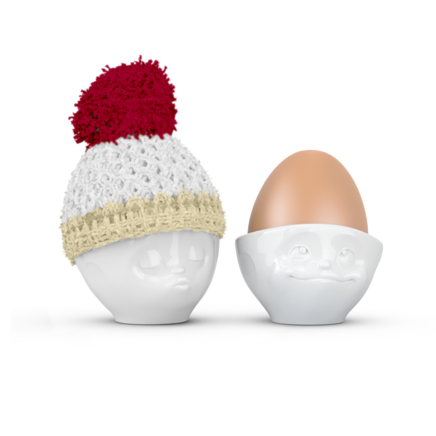Egg cup hat chilli red/ivory