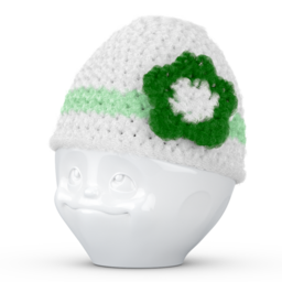 Egg cup hat with flower white green